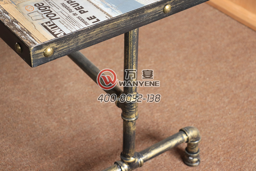 Iron Art Dining Table Pipe style Dining Table Solid Wood Customize Pattern Top Iron Edge Brass Pins Special Western Restaurant Dining Table --The Product Image' style=