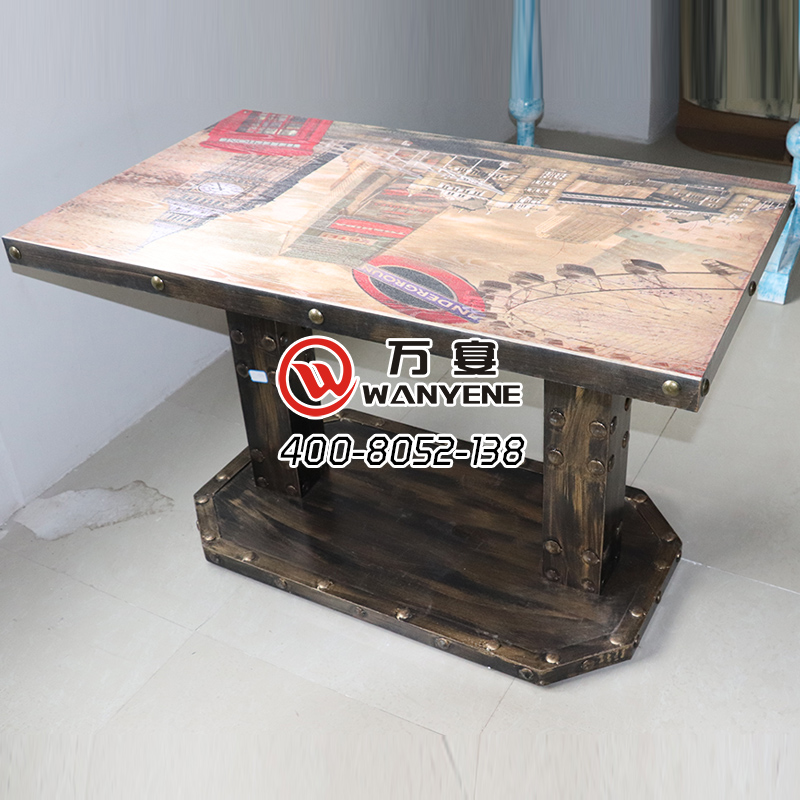 Industrial Theme style dining table antique solid copper nail metal edging customized desktop printing hardware iron steel column copper nail foot dining table --The Product Image' style=