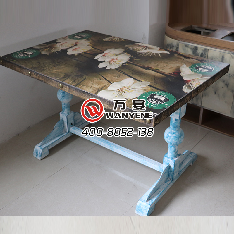 Hardware Iron Art desktop pattern customized printing SMD copper nail edge table in Blue color with solid wood Table top --The Product Image' style=