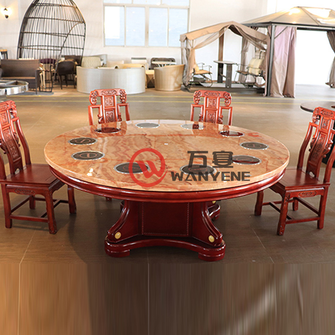 Hot Sale Chinese style marble top Shabu Shabu hotpot table Chinese style classic style solid wood hot pot dining table --The Product Image' style=