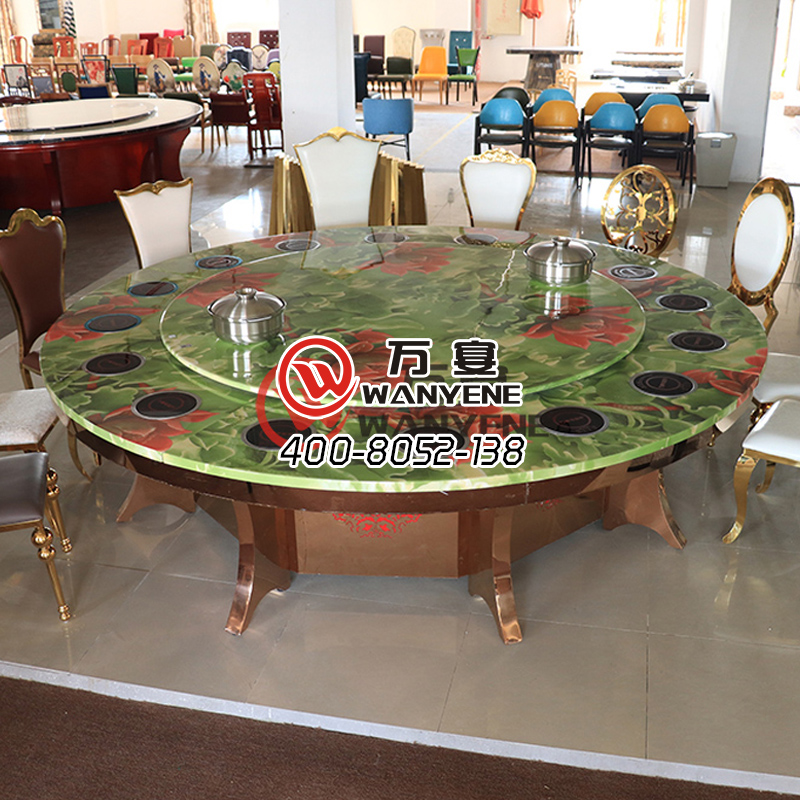 Large round marble hotpot table 16-person sitting hotpot table Copper-plated brushed stainless steel dining table East Asian marble pattern Customization --The Product Image' style=