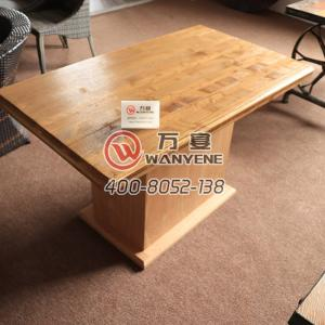 Solid wood in wax fining square dining table with Plywood base antique table with side bucket hot pot table