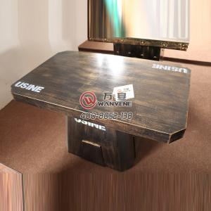 Steel Art hot pot table metal bronze table industrial steel dining table hot pot table