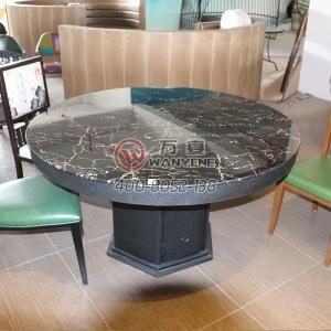 Tempered Glass Hot-Pot Table Without electric cooker Black Classic Dining Table Iron Art Round Dining Table