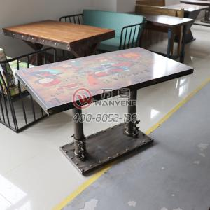 Industrial style Iron Art dining table solid wood dining table with hardware iron edging bronze table foot Western restaurant dining table