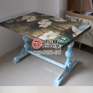 Hardware Iron Art desktop pattern customized printing SMD copper nail edge table in Blue color with solid wood Table top