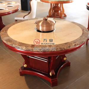 Marble Top Induction Cooker Hot Pot Dining Table Chinese Style Round HotPot Table Artificial Marble Top Pu Fininsh Table