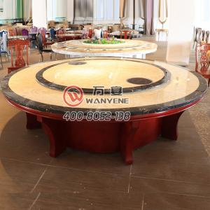 With turning-table-top High-end marble hot pot table Solid wood table leg hot pot dining table