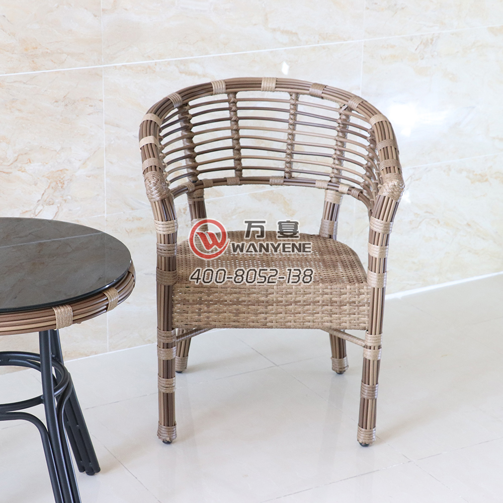 Outdoor antique wicker chair art woven rattan chair imitation weather durable life outdoor lounge chair