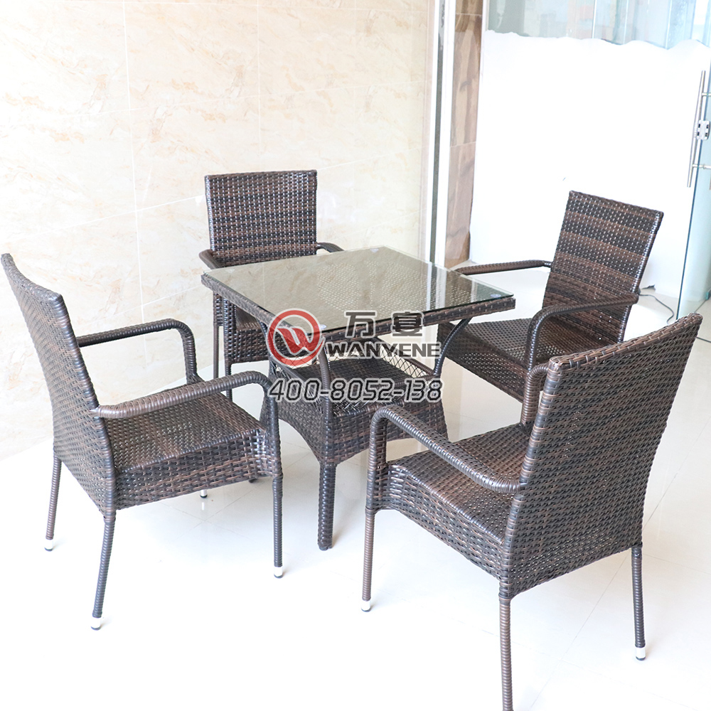 Outdoor glass rattan table set Four-person suit Outdoor rattan chair dining table