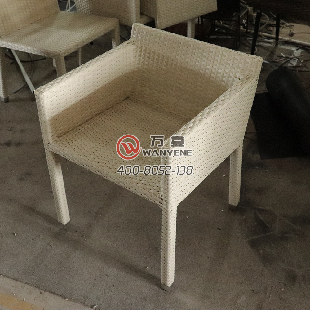 White high-end outdoor dining chair short back rattan chair --The Product Image' style=