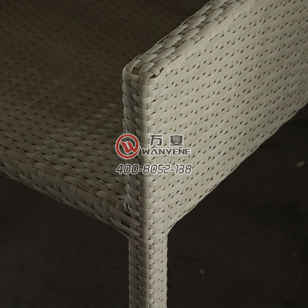 White high-end outdoor dining chair short back rattan chair