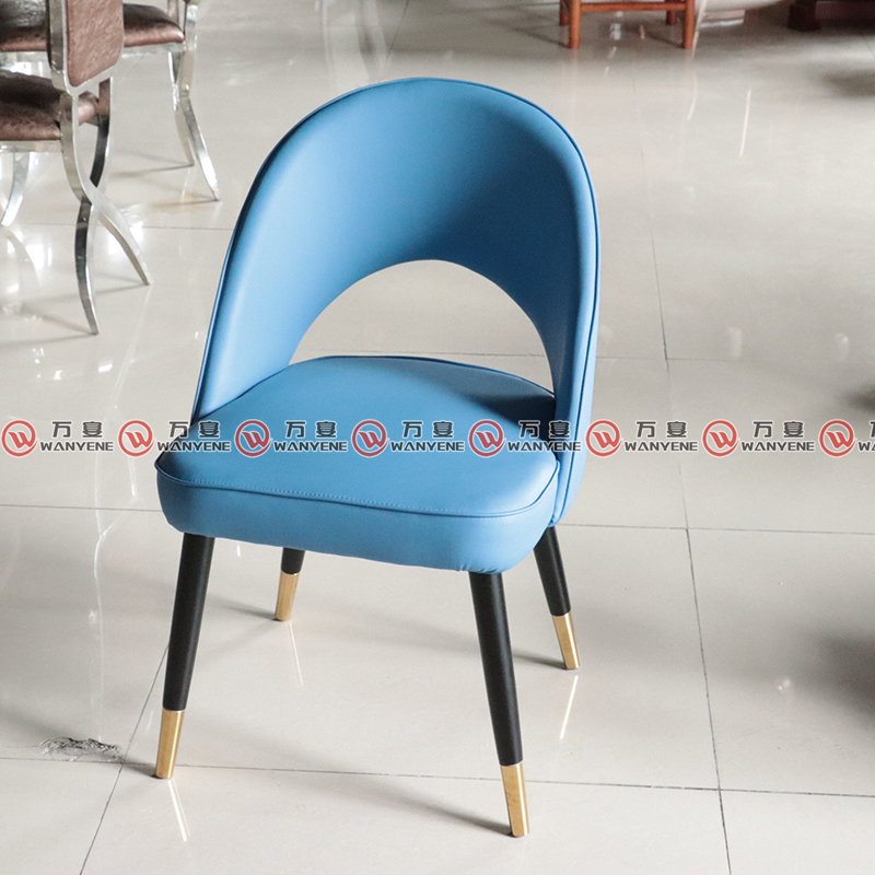 Solid wood dining chair with leather upholstery and golden feet 2330