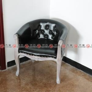 Solid wood black leather chair 2321