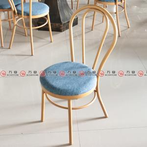 Metal frame round back with wood grain finished di...