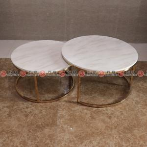 Stainless steel with golden plated round coffee table marble stone top tea table 2335