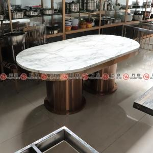 Oval shape marble top hotpot table golden stainless steel dining table 1144