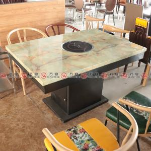 Square base metal hot pot table marble top restaurant dining table