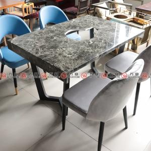 Metal M-shape legs hotpot table marble top with flame stove hot pot table 1147