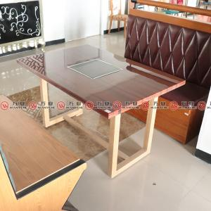 Square marble hot pot table wood texture metal frame dining table 1149