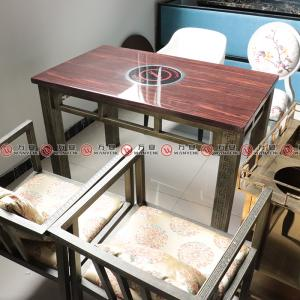 Square marble hotpot table bronze carving hardware table legs 1150