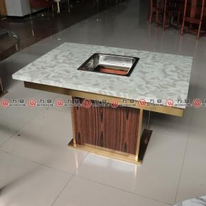 MDF base with stainless steel surrounding hop pot table artificial marble dining hotpot table 1154