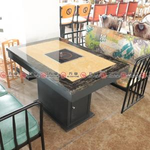 Double color marble top hotpot table 4 seat metal base dining hotpot table 1156