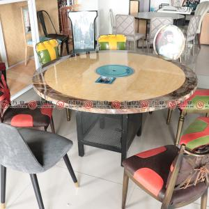 Iron net base hot pot table simple style marble top table 1158