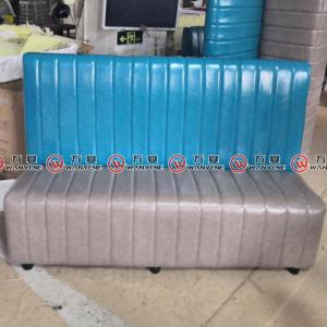 Blue and gray booth sofa with PU leather covering 2368