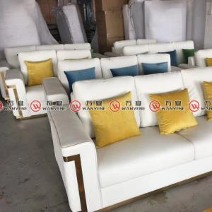 White fabric sofa golden stainless steel frame sofa 2372