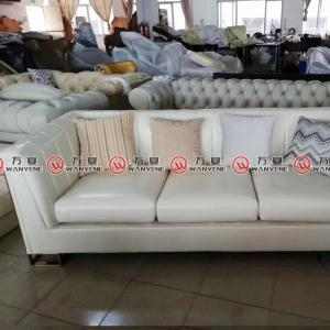 White leather sofa with stainless steel legs wood frame living room sofa 2374