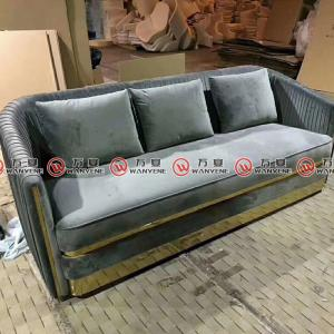 Velvet fabric sofa set America style living room sofa set 2376
