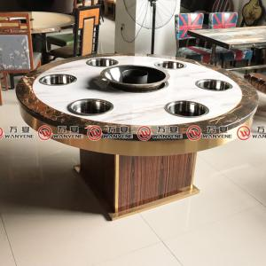Golden stainless steel wooden board hot pot table marble top hot pot table