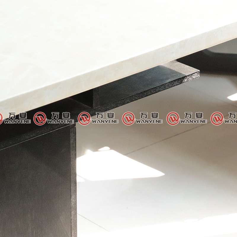 Black wooden base hotpot table marble top hot pot table 4 seat 1160
