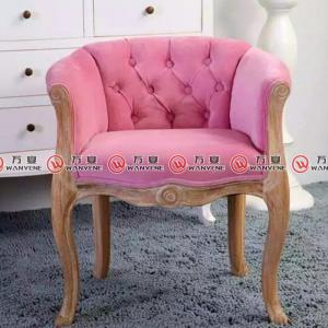 Pink linen fabric solid wood legs leisure arm chai...