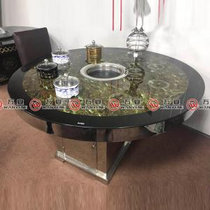 Double color Spraying glass desktop dining table with stainless steel base talbe