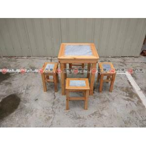 Marble embed solid wood dining table wooden dining table