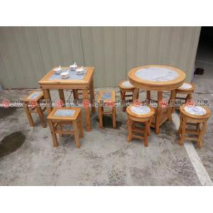 Solid wood embed with stone dining table Chinese