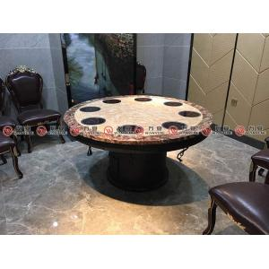 Metal frame round Hot pot table marble top dining table 1188