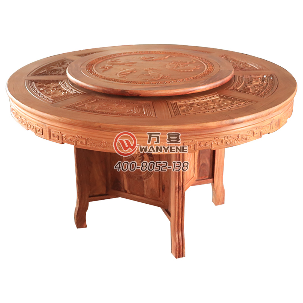 Solid rosewood antique hot pot table Solid wood carving Hot pot table with turntable top, Round solid wood dining table