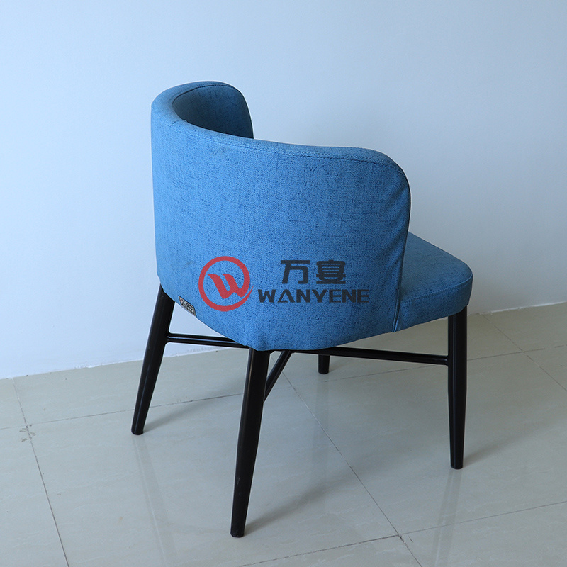 Blue round seat fabric seat cushion Black hardware chair foot Durable and stable Cafe dining chair restaurant chair --The Product Image' style=