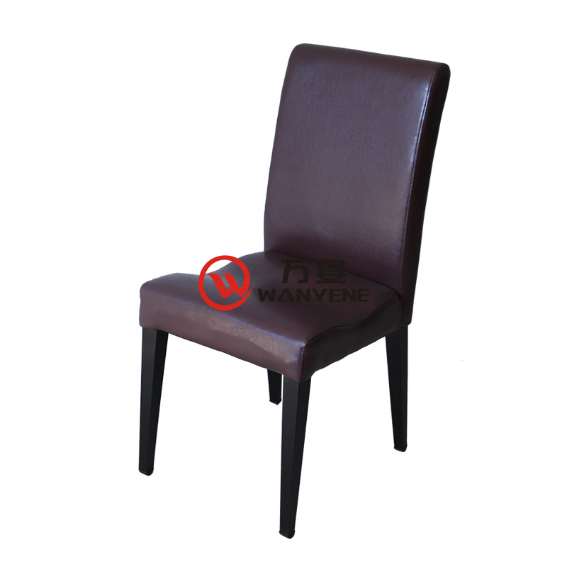 High-end restaurant chair Hotel lobby Dining chair Black hardware frame stable and durable Cafe dining chair