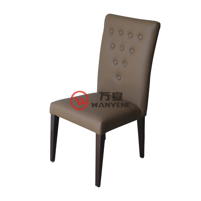 Grey buckle backrest chair hardware dining chair foot upholstery stable and durable cafe dining chair