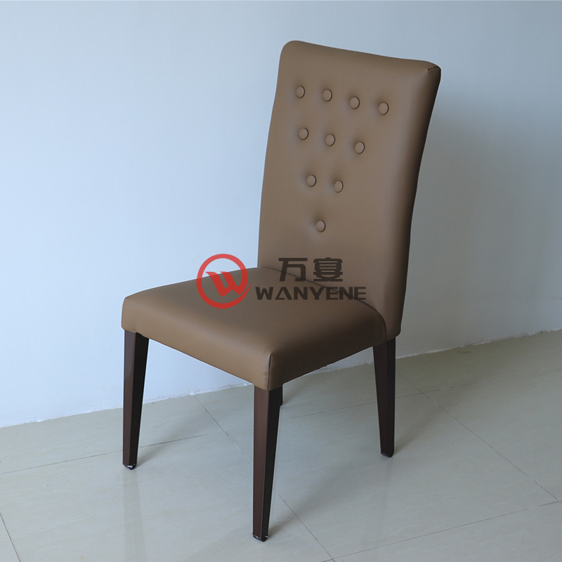 Grey buckle backrest chair hardware dining chair foot upholstery stable and durable cafe dining chair --The Product Image' style=