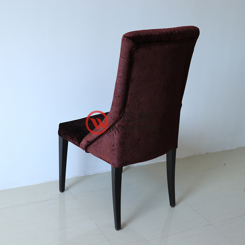 Brown red buckle backrest hardware dining chair hotel chair restaurant cafe dining chair structure stable and durable --The Product Image' style=