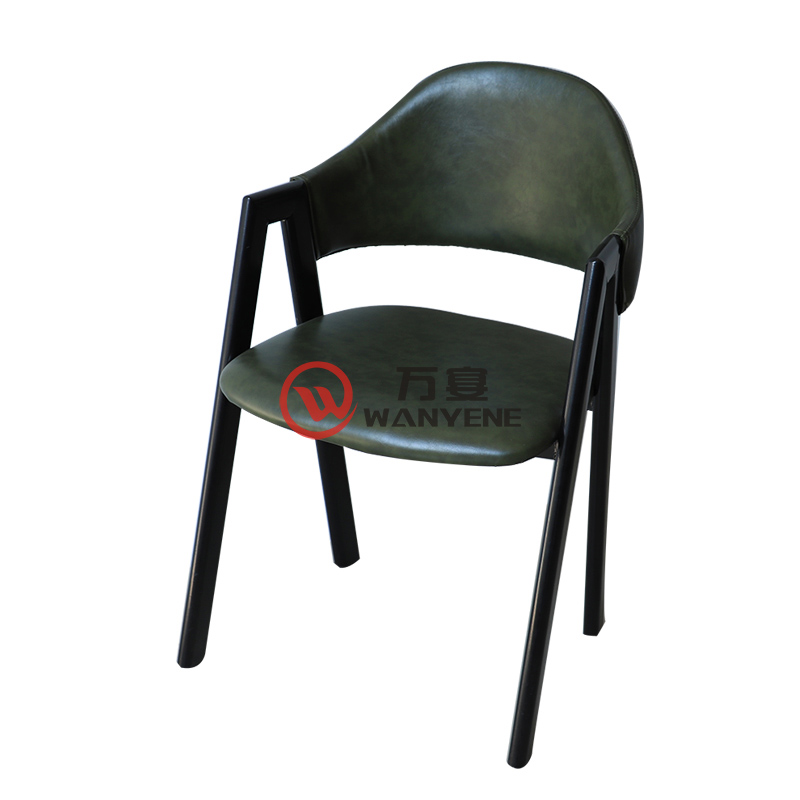 Dark green heavy metal chair Iron industrial style dining chair Iron art restaurant personalized dining chair A shape metal welding stable and durable chair