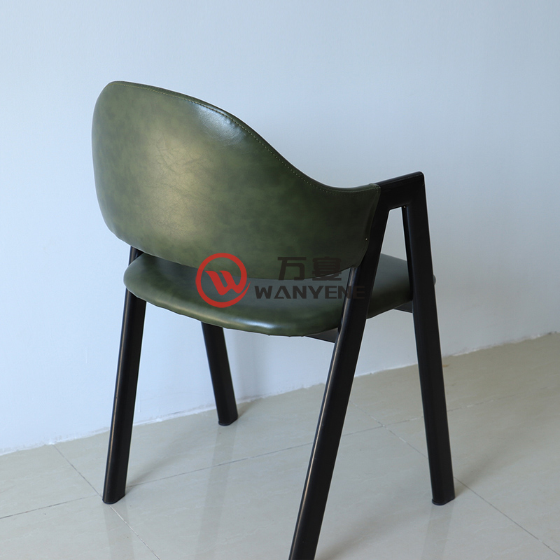 Dark green heavy metal chair Iron industrial style dining chair Iron art restaurant personalized dining chair A shape metal welding stable and durable chair --The Product Image' style=