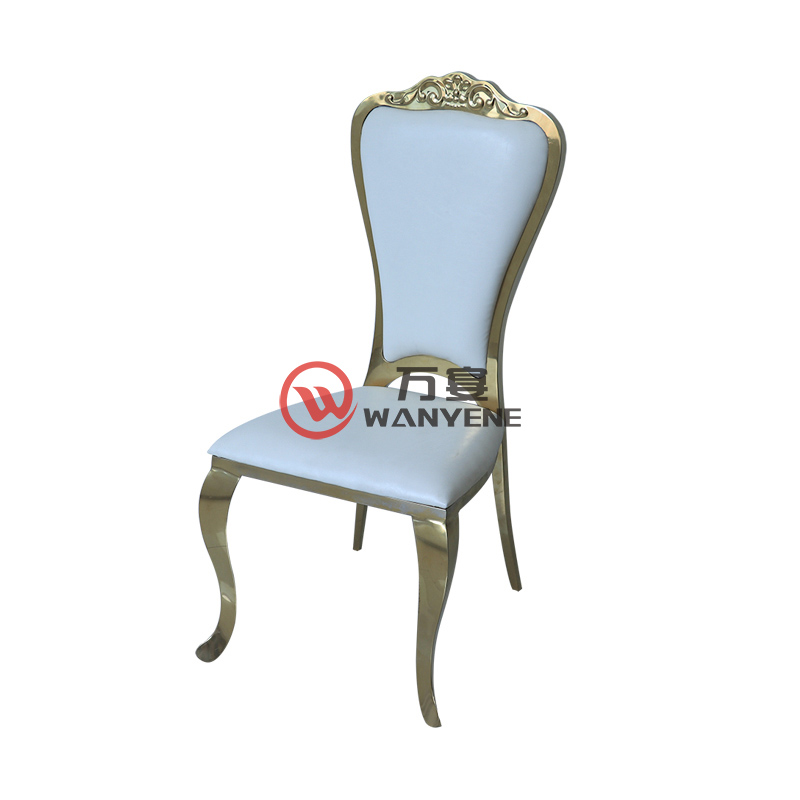 European-style gold stainless steel dining chair White leather upholstery Restaurant exclusive chair Cafe restaurant dining chair