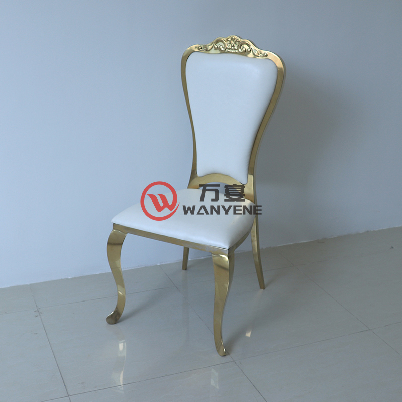European-style gold stainless steel dining chair White leather upholstery Restaurant exclusive chair Cafe restaurant dining chair --The Product Image' style=