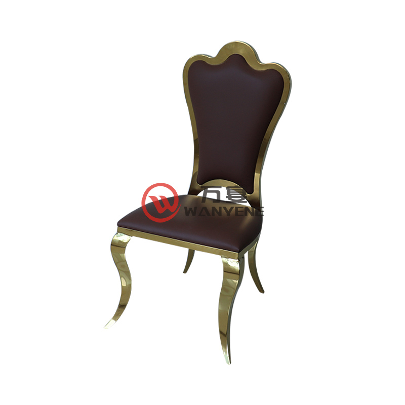 Golden plum chair Black leather seat cushion Golden stainless steel dining chair Atmospheric restaurant chair Durable structure solid dining chair
